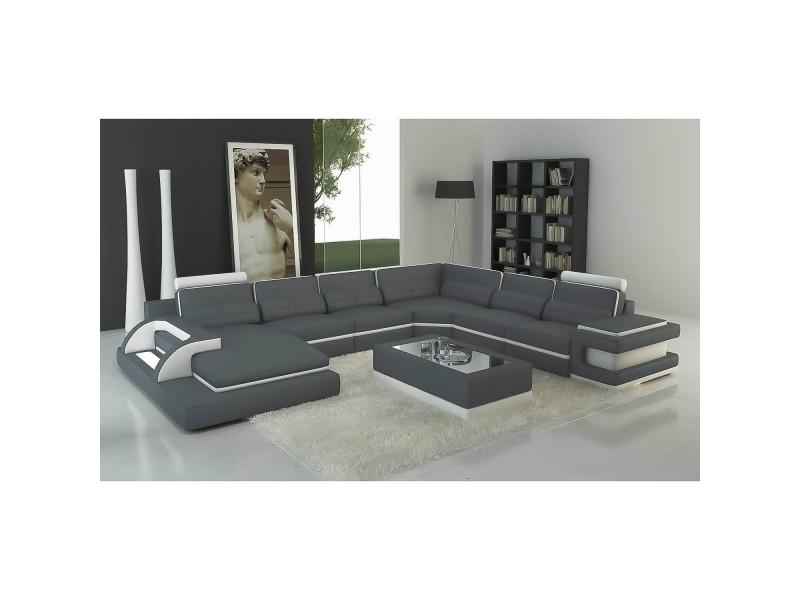 Ranna panoramique - canapé d'angle panoramique design en cuir gris et blanc avec lumière intégrée