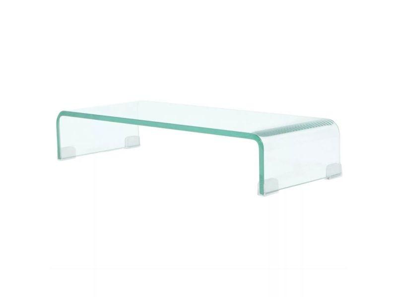 Meuble télé buffet tv télévision design pratique pour moniteur 60 cm verre transparent helloshop26 2502256