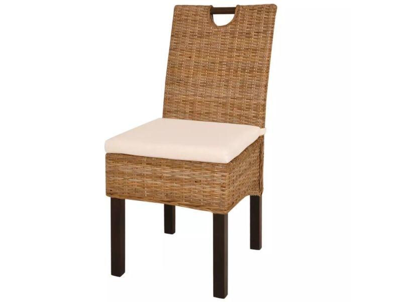 Vidaxl chaises de salle à manger 6 pcs rotin kubu bois de manguier ...