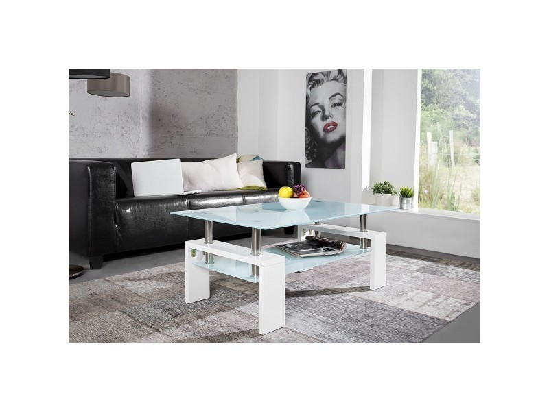 Table basse design arcadya laqué blanc opaque vente de royale