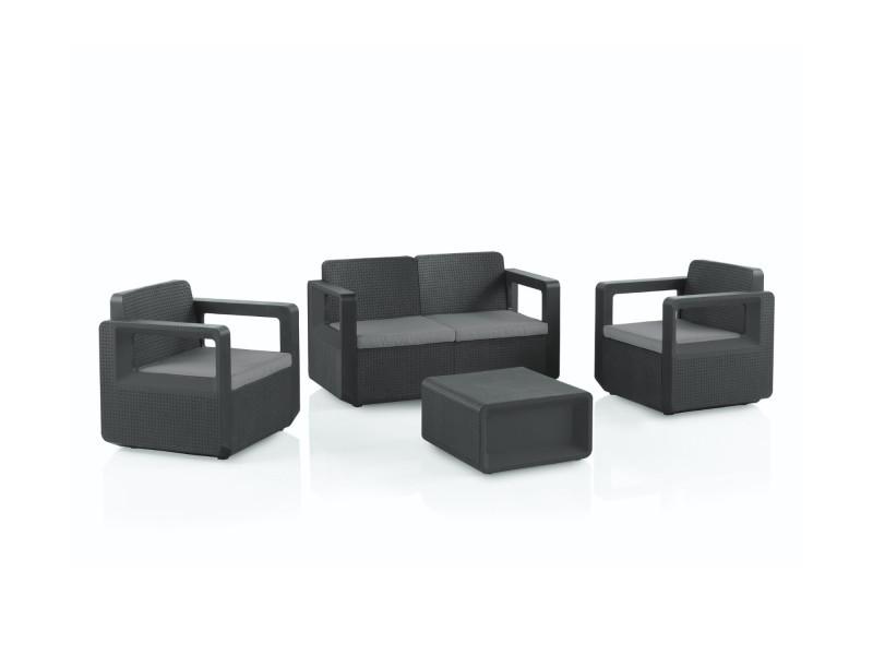 Rio - salon bas de jardin 4 places - en résine tressée injectée - noir avec coussins gris couleur - noir