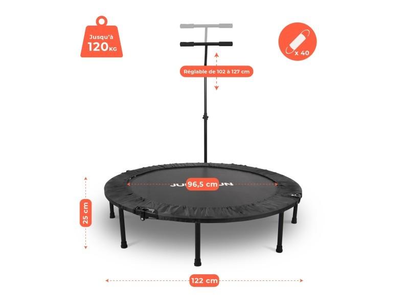 Mini trampoline fitness jump4fun pliable t-bar - ø122cm, noir
