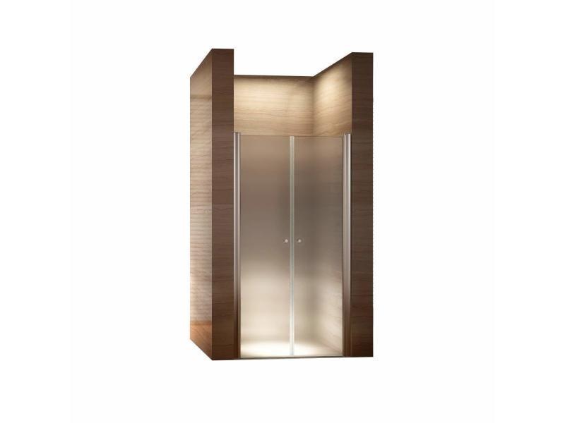 Porte de douche hauteur 185 cm - largeur réglable / verre dépoli avec traitement nano anti-calcaire (80-84 cm, dépoli / opaque)