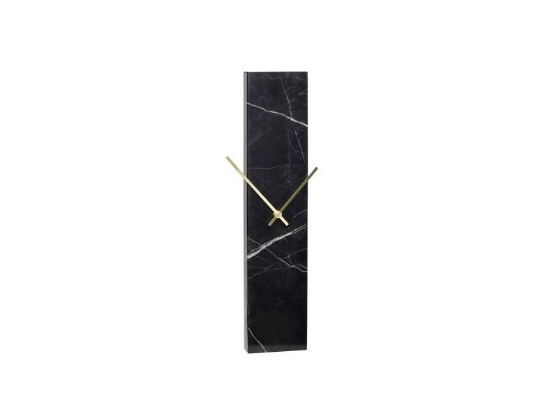 Horloge design en marbre noir et laiton doré