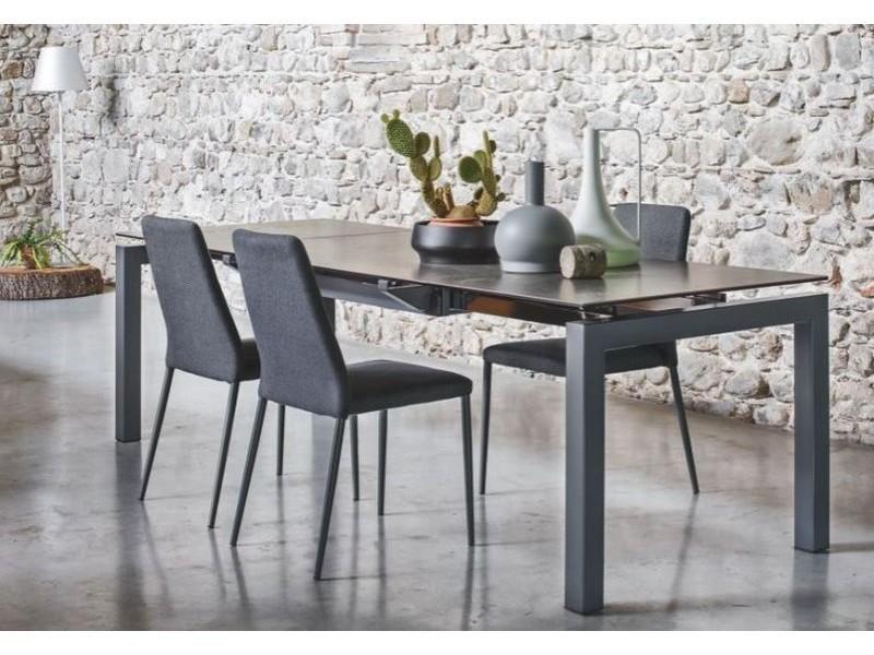 Table repas extensible airport 130x90 plateau céramique plomb piétement acier laqué gris 20100838993