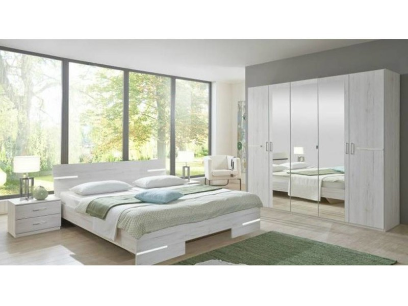 chambre coucher caramella chne blanc vente de lit adulte. Black Bedroom Furniture Sets. Home Design Ideas