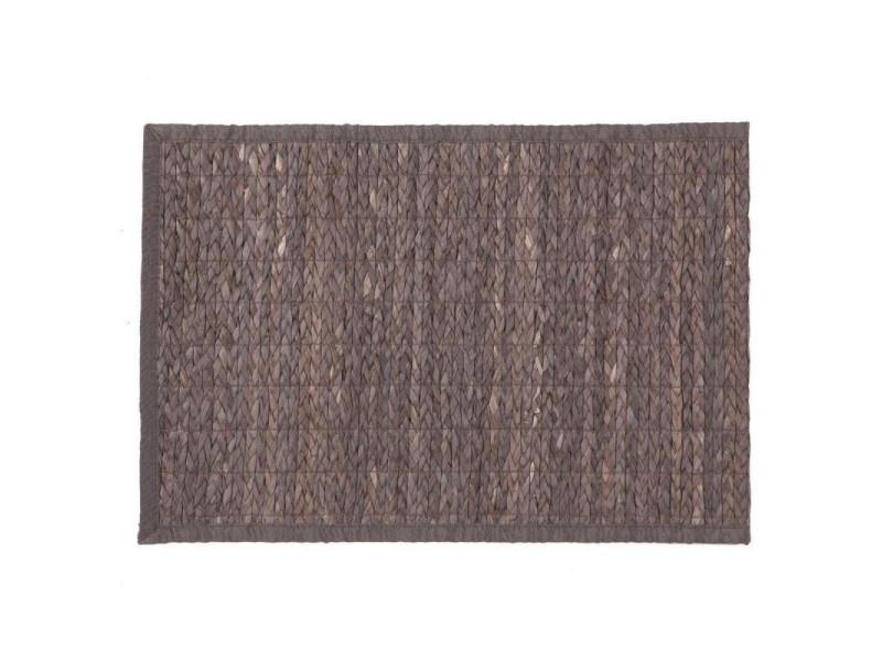 Tapis bambou tressé 50x80 cm gris foncé