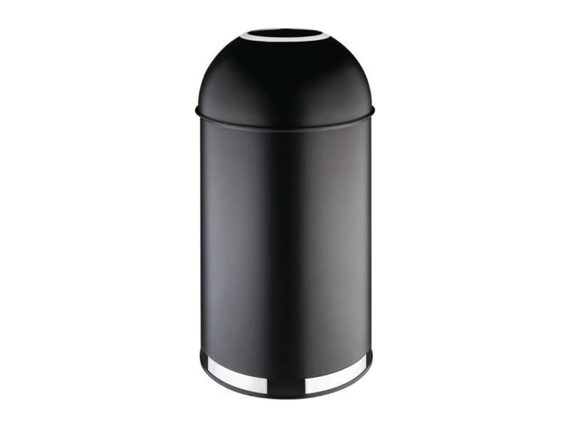 Poubelle dôme ouverte en acier noire - 40 litres - bolero - acier4000 cl