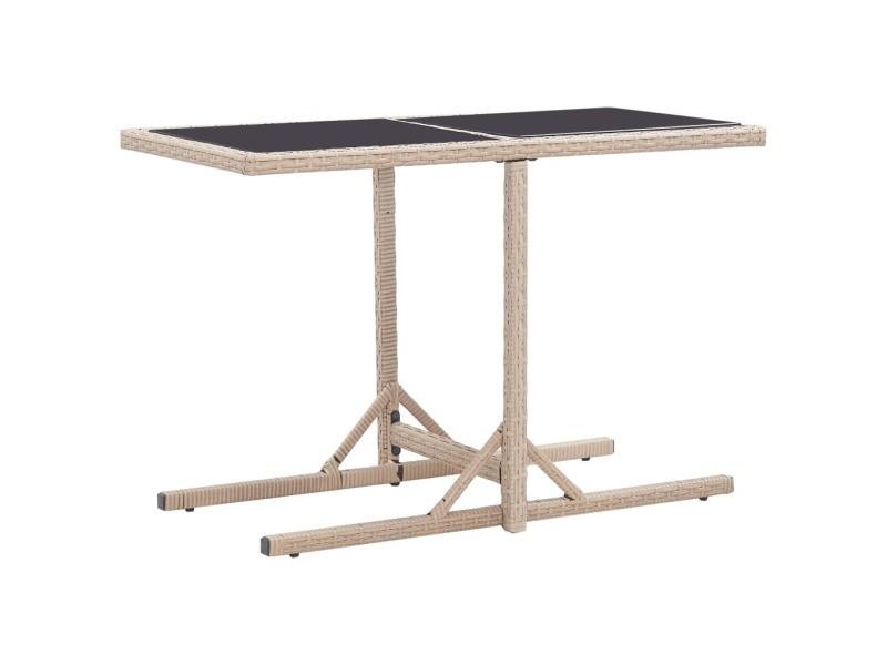 Contemporain mobilier de jardin reference copenhague table de jardin beige 110x53x72 cm verre et résine tressée