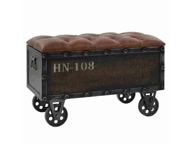 Magnifique bancs serie lilongwe banc de rangement bois massif et cuir artificiel 80,5x41x50 cm