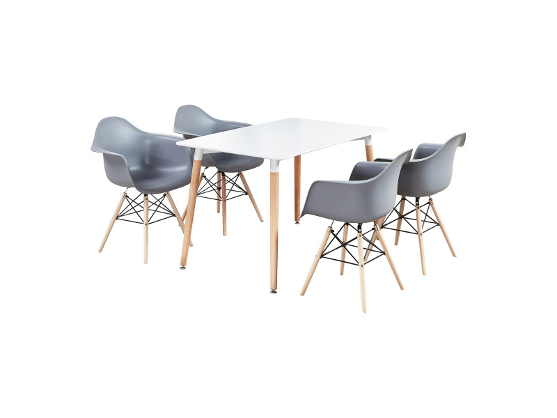 Ensemble table blanche & 4 chaises grises avec accoudoirs - style scandinave - moda halo