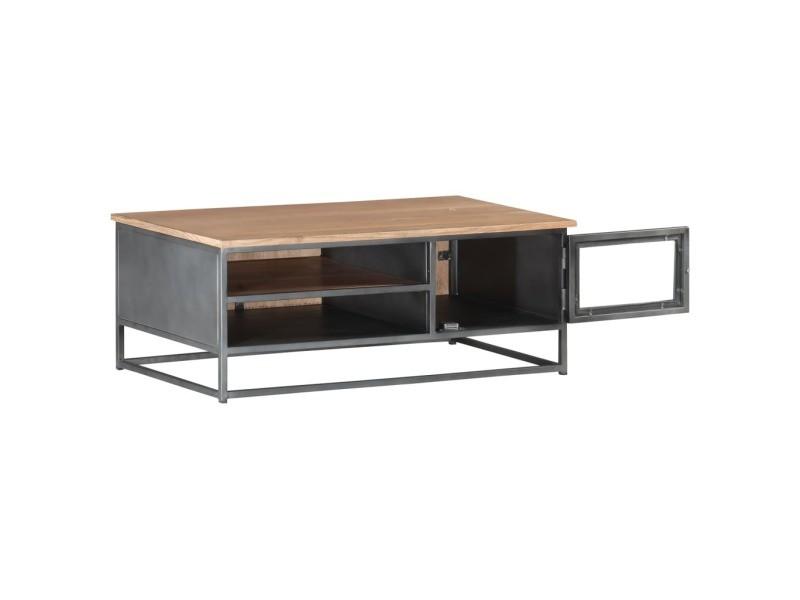 Vidaxl table basse gris 90x50x35 cm bois d'acacia massif 323500
