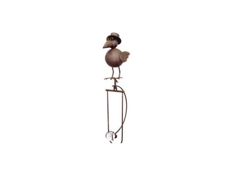 Mobile de jardin à balancier à planter ou tuteur pour plantes motifs corbeau en fer et verre patiné marron 14x25x153cm