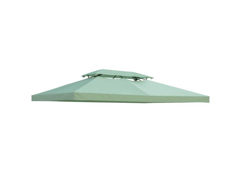 Toile de rechange pour pavillon tonnelle tente 3 x 4 m polyester haute densité 180 g/m² vert