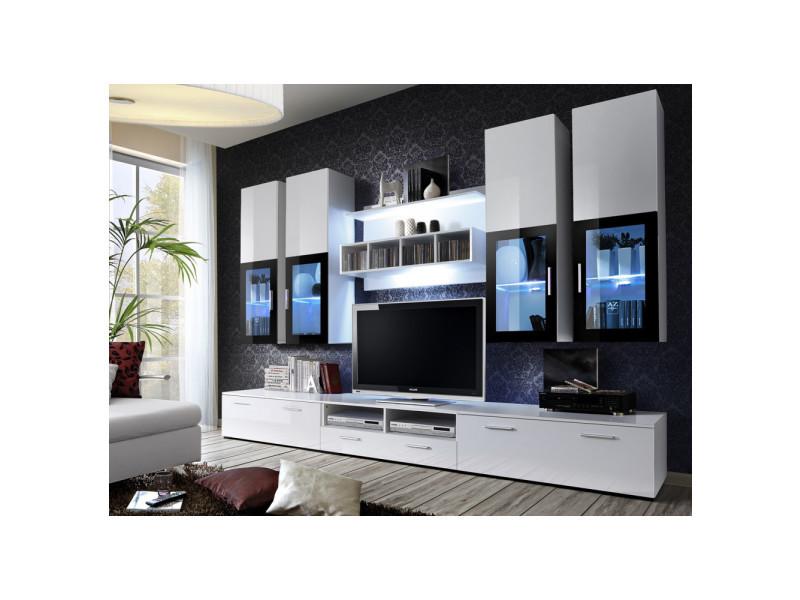 Ensemble meuble tv mural - lyra - 300 cm x 190 cm x 45 cm - blanc