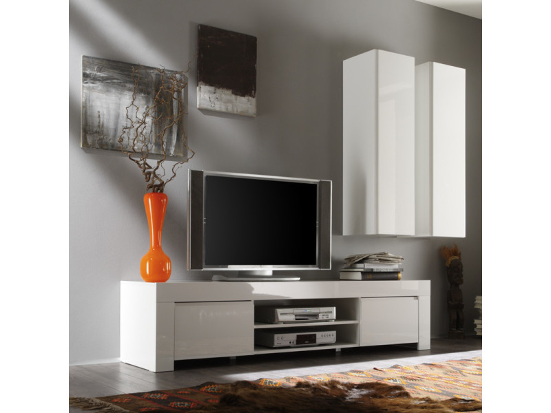 Meuble tv 2 portes 190 cm laqué blanc brillant - pisa - l 190 x l 50 x h 45 - neuf
