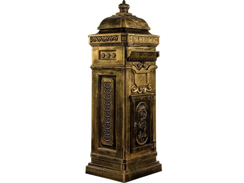 Boîte aux lettres sur pied, style antique anglais, aluminium inox, hauteur: 102,5 cm, coloris : laiton, garantie: 3 ans