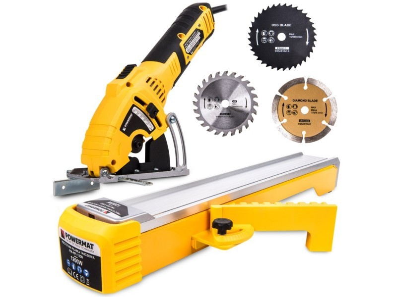 Power tool - scie circulaire de précision 1200w + patin - régime 7400 tr./min - profondeur de coupe 0 - 25 mm - atelier bricolage - gris