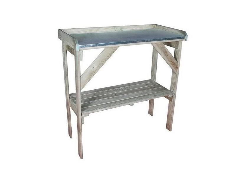 Jardipolys - table de préparation en bois avec une étagère