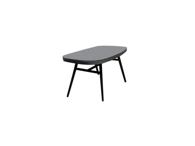 Table de jardin en aluminium gris plateau verre 6 places - pacific
