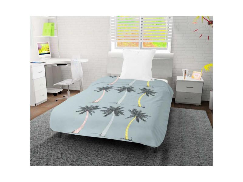 Couette imprimée 140x200 cm palmier bleu