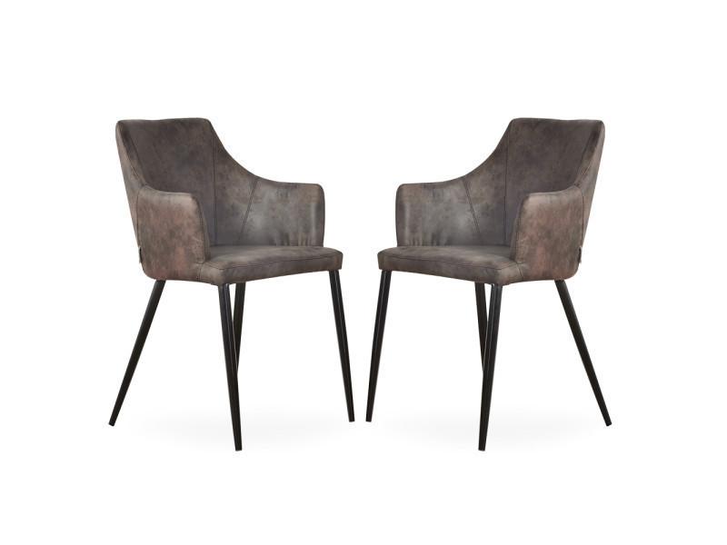 Lot de 2 chaises zarah en simili cuir marron foncé - rembourrée