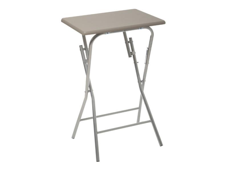 Five - table d'appoint pliante en bois et métal taupe h 64 cm