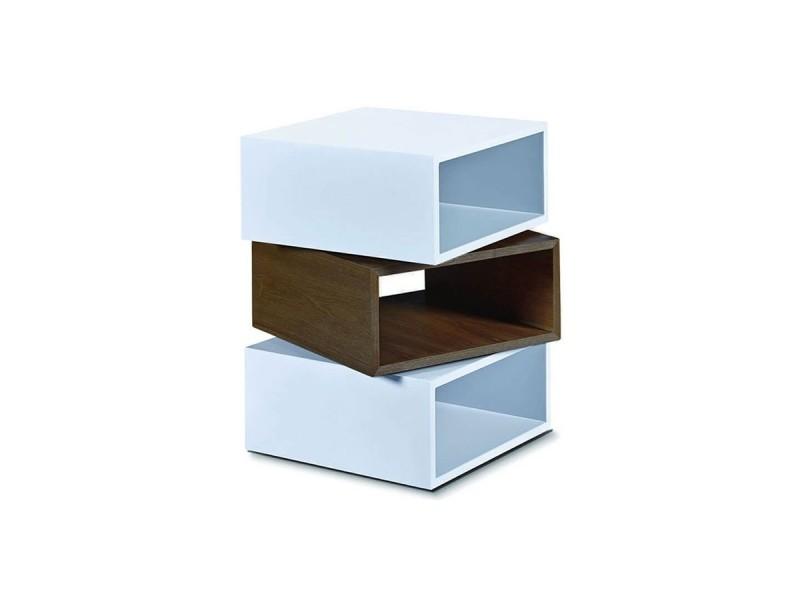Table d'appoint bois et laqué kub - noyer/blanc - bois foncé