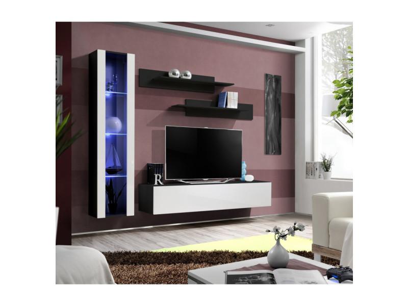 Ensemble meuble tv mural - fly ii - 210 cm x 190 cm x 40 cm - noir et blanc
