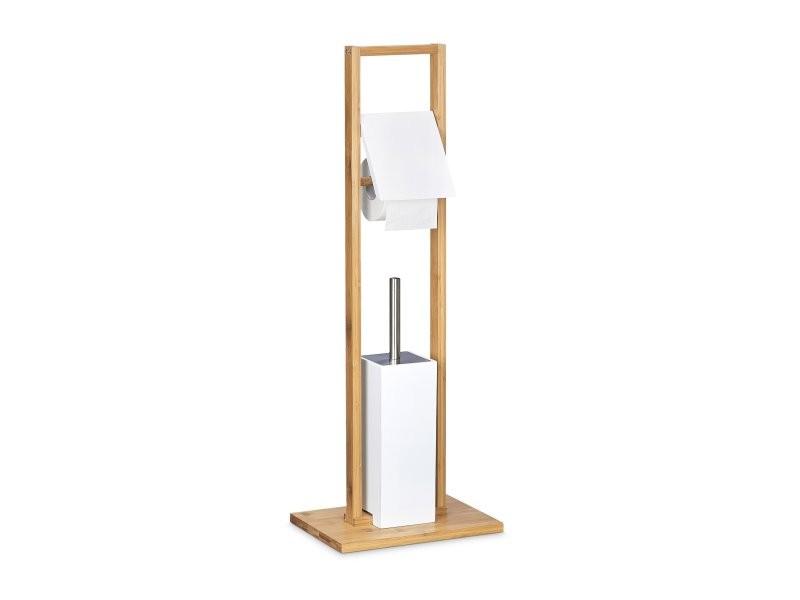 ensemble porte brosse wc support porte rouleau papier toilette en bambou helloshop26 3213045. Black Bedroom Furniture Sets. Home Design Ideas