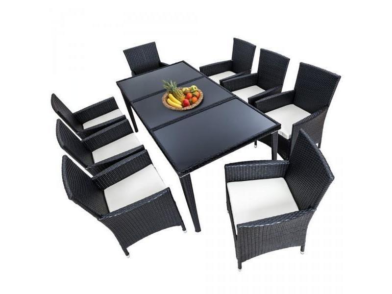Salon de jardin 8 chaises rotin résine tressé synthétique noir + coussins + housses helloshop26 2108005
