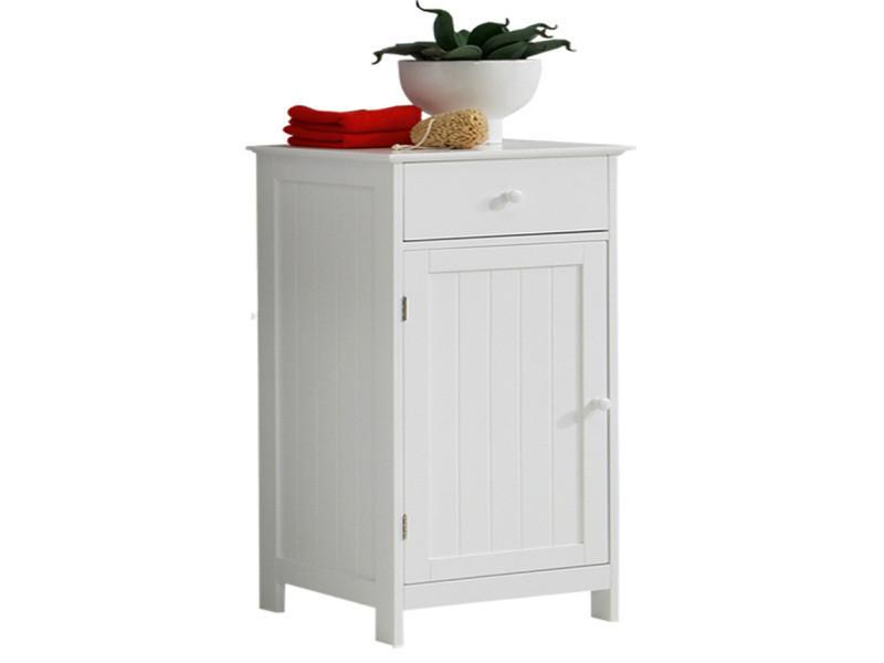 Meuble de salle de bains en mdf laqué mat coloris blanc, l40 x h86,5 x p35 cm -pegane-