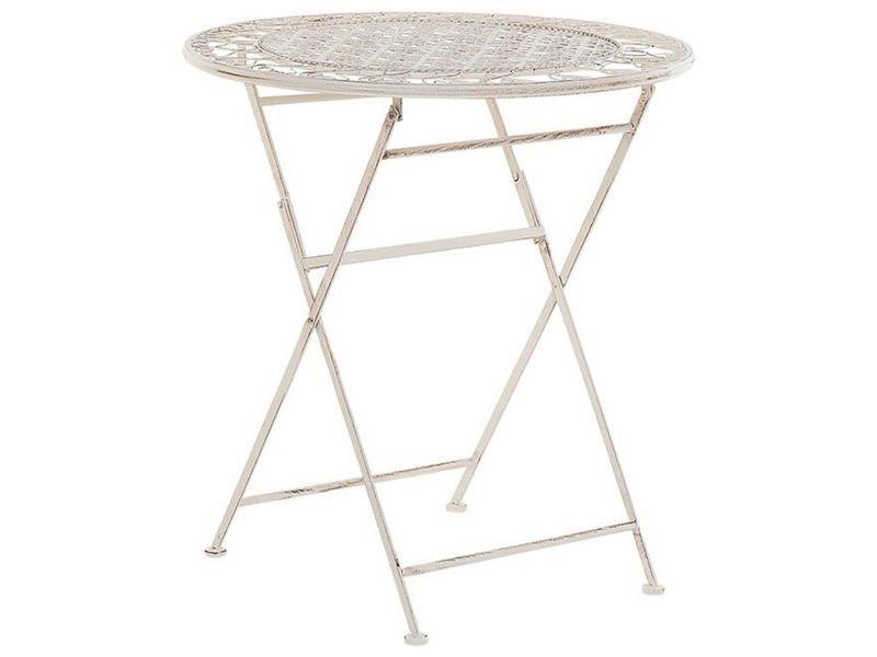 Table ronde de jardin bistrot en métal beige trieste 189060