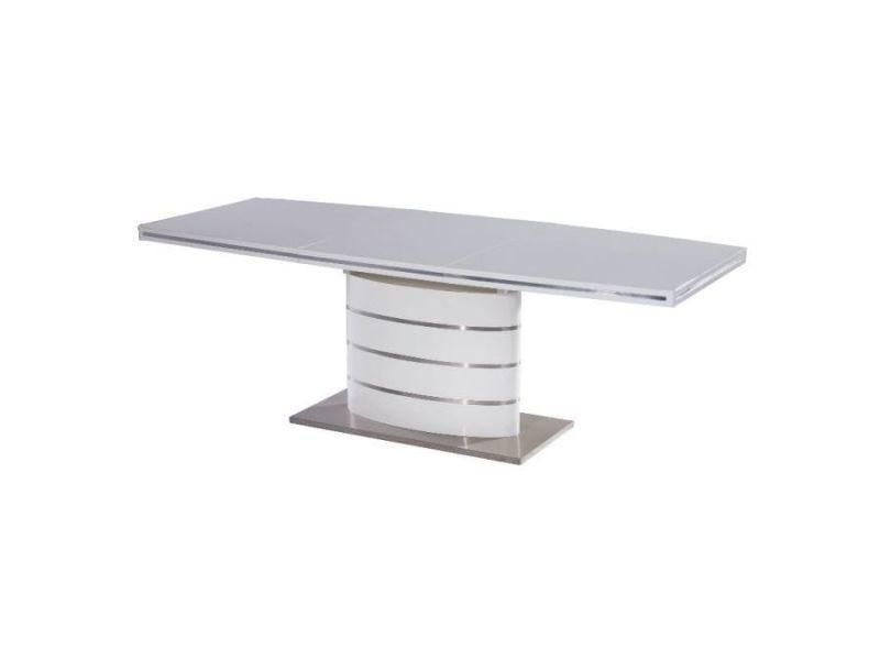 Fanu - table extensible éléments en acier - 160x90x77 cm - plateau en bois mdf laqué - table salle à manger - blanc