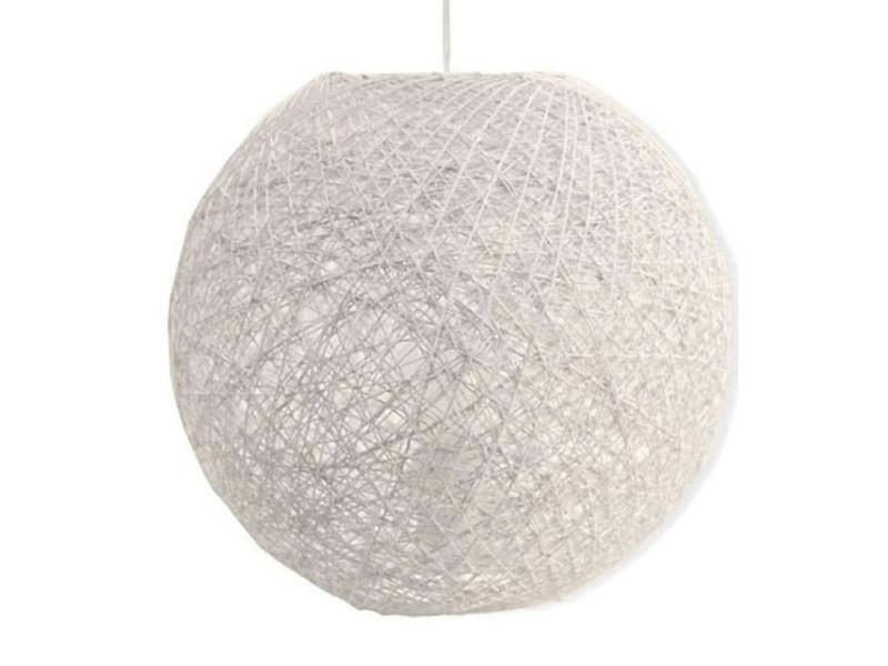 Suspension Boule En Rotin Tresse Ajoure Blanc Kirou Vente De