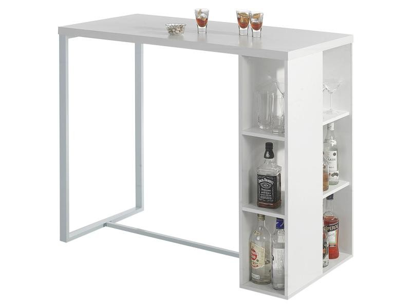Table haute de bar ibiza mdf d cor blanc mat vente de - Conforama table d appoint ...
