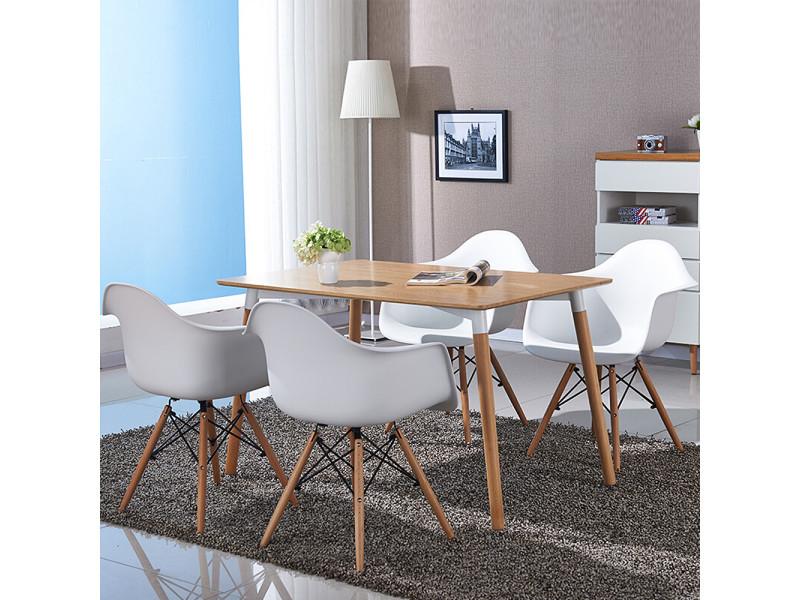 Hombuy® ensemble de table à manger rectangulaire couleur bois et 4 chaises de salle à manger avec fauteuil design scandinave blanches