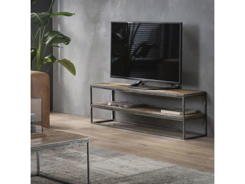 Meuble tv industriel en bois et métal lilly