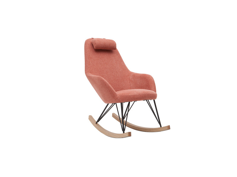 Rocking chair design effet velours texturé terracotta jhene
