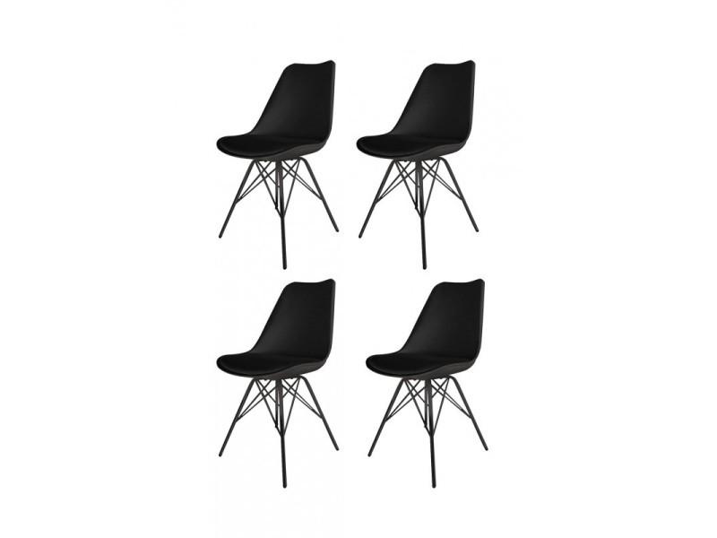 Lot 4 chaises noires et metal style scandinave vintage - tomy