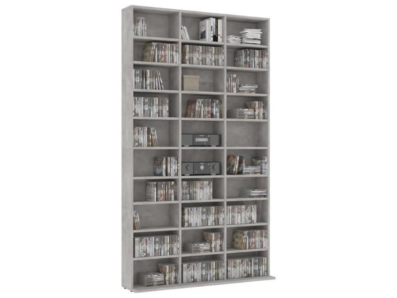 Etagère range cd/dvd 180 cm béton gris marbré blanc
