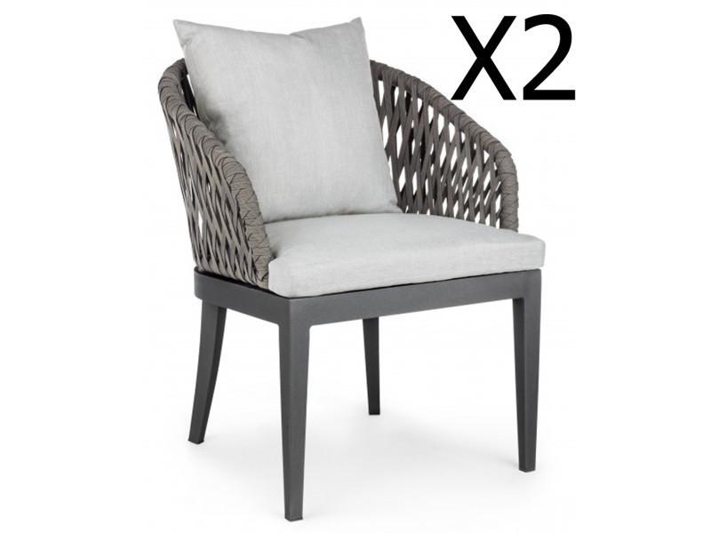 Lot de 2 fauteuils avec coussin coloris anthracite - dim : l 63 x p 64 x h 82 cm -pegane-