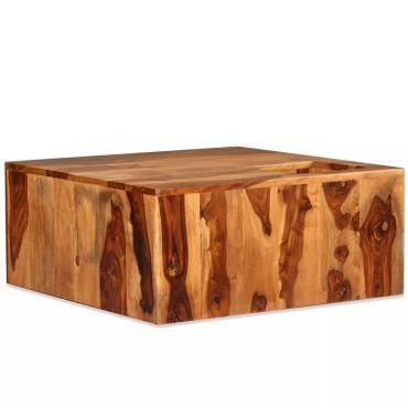 vidaXL Bois Massif de Sesham 2X Table Basse Marron Table de Salon Meuble