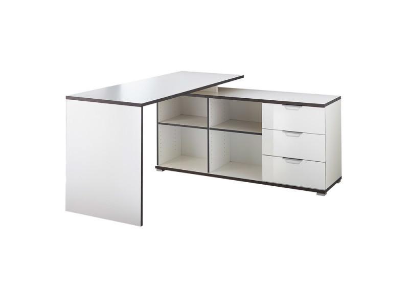 bureau d 39 angle scandinave en bois blanc gris avec 4 niches. Black Bedroom Furniture Sets. Home Design Ideas