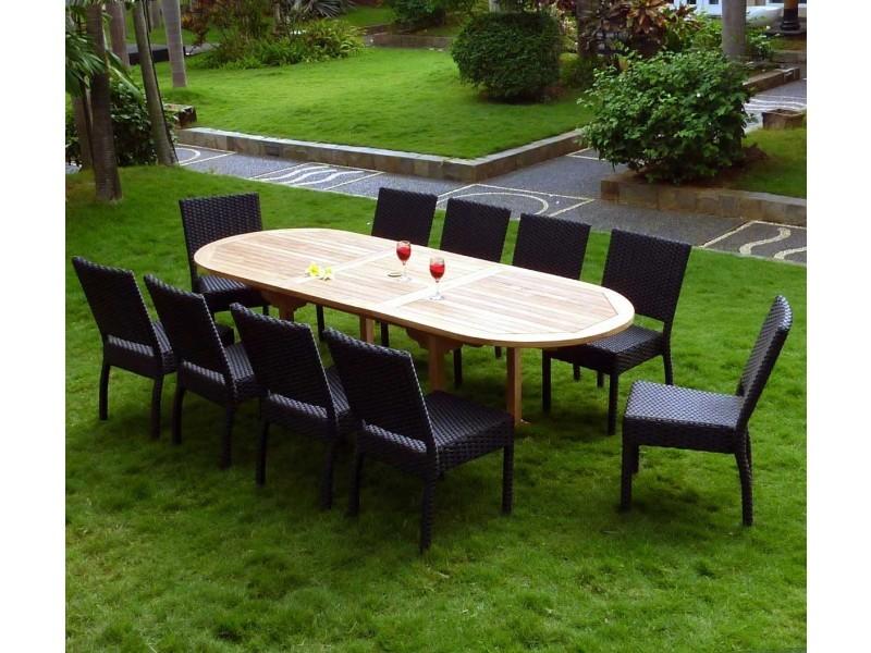 Salon de jardin en teck et résine 8 chaises avec coussins ...
