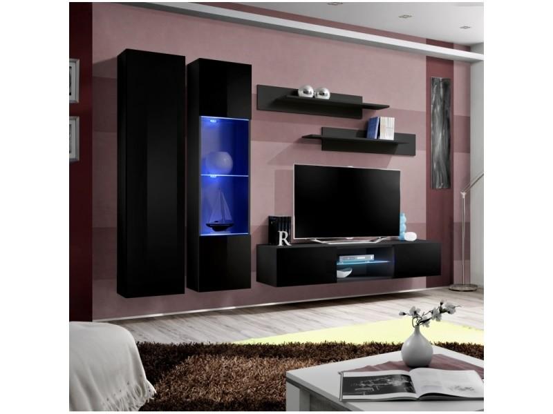 Ensemble meuble tv mural - fly o5 - 260 x 40 x 190 cm - noir