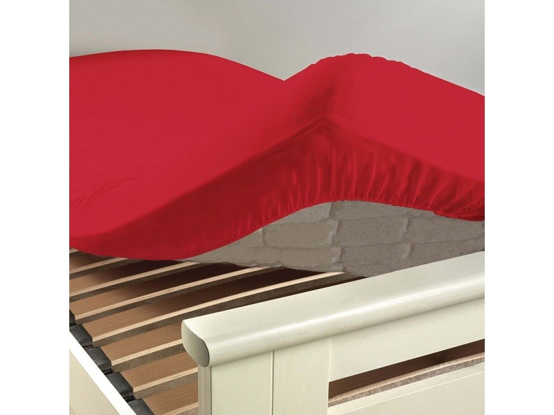 Drap housse coton 57 fils rouge coquelicot 140 x 190 cm 1640650-coquelicot