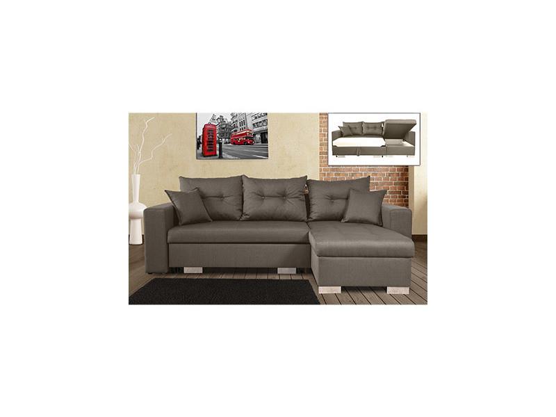 Canapé d'angle à droite convertible avec coffre gris chiné - amina