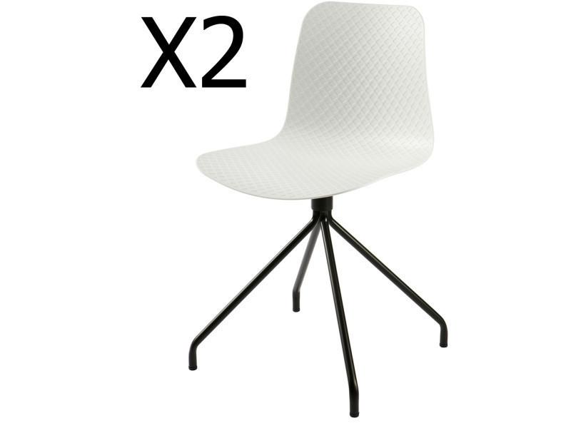 Lot de 2 chaises design en polypropylène, coloris blanc - dim : h 81,5 x l 45 x p 46,5 cm - pegane -