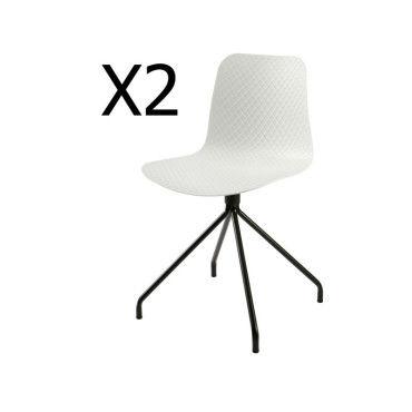 Lot de 2 chaises design en polypropylène, coloris blanc